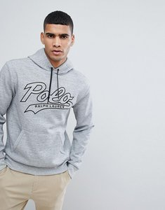 Read more about Polo ralph lauren large polo logo overhead hoodie in grey marl - grey heather