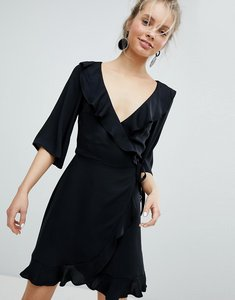 Read more about Monki ruffle wrap dress - black