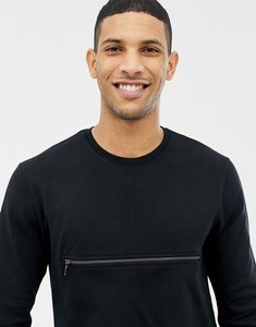 Read more about Only sons sweatshirt with front zip pocket - black