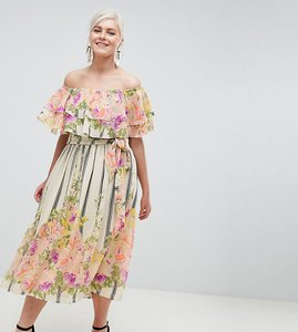 Read more about Asos design curve ruffle top bandeau midi dress in floral stripe print - multi