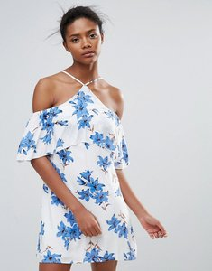 Read more about Parisian halterneck floral dress - white blue