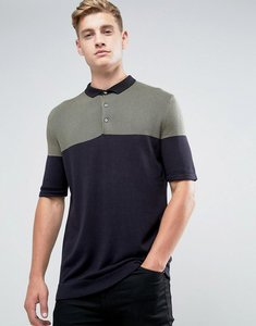 Read more about Kiomi knitted polo shirt with colour block - green