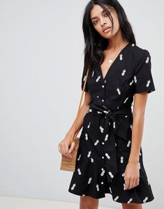 Read more about Warehouse tea dress with tie front with pineapple embroidery - black