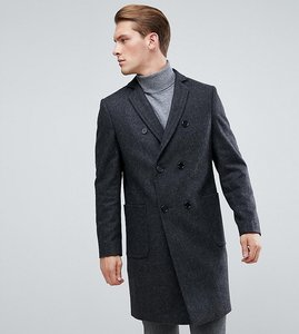Read more about Heart dagger double breasted wool mix overcoat - charcoal