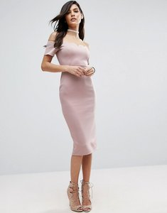 Read more about Asos scallop off the shoulder scuba midi pencil dress - nude