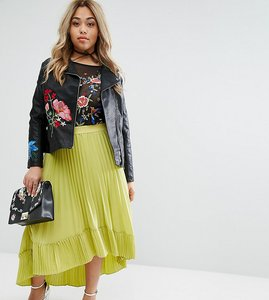 Read more about Lost ink plus pleated dip hem skirt - yellow