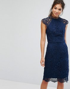 Read more about Chi chi london scallop lace pencil dress - navy