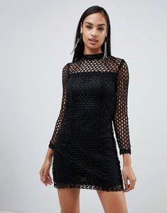 Read more about Rare london long sleeve crochet dress - black
