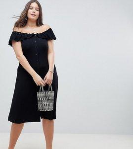 Read more about Asos design curve off shoulder button through midi sundress - black