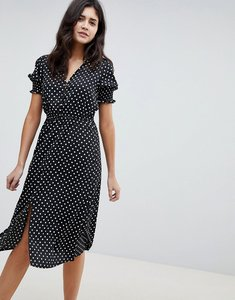 Read more about Influence shirred sleeve polka dot midi dress - black polka dot