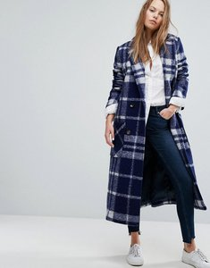 Read more about Tommy hilfiger denim long check wool coat - medieval blue multi