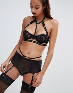 Read more about Ann summers bonnie lace high waisted brief - black
