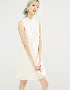 Read more about Monki lace shift dress - white