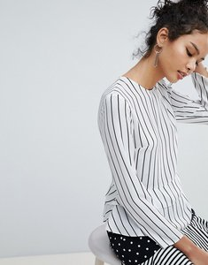 Read more about Miss selfridge double ruffle peplum striped blouse - stripe