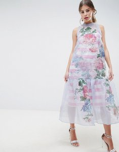 Read more about Asos salon embroidered organza with stripe bodice midi dress - multi