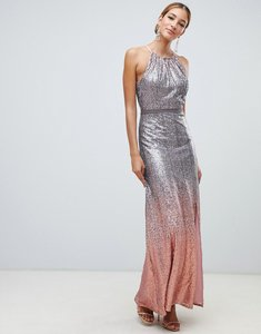 Read more about Little mistress high neck allover ombre sequin maxi dress in rose multi