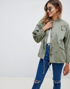 Read more about Missguided khaki badge details parka jacket - khaki
