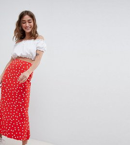 Read more about Asos design petite midi skirt with kickflare in polka dot - red white