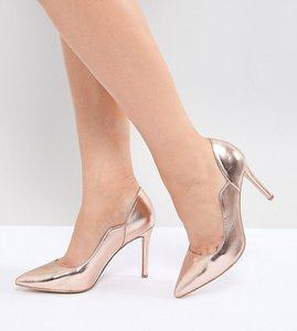 Read more about Faith wide fit cassandra rose gold pointed heeled shoes - rose gold