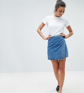 Read more about Asos design tall denim wrap skirt in stonewash blue - blue