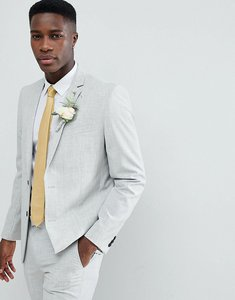 Read more about Farah skinny wedding suit jacket in cross hatch - gravel