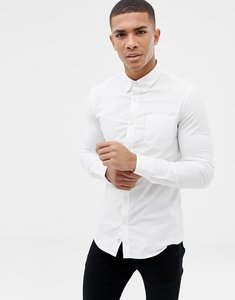 Read more about Burton menswear skinny oxford shirt with stretch - white