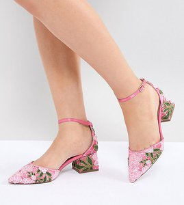 Read more about Asos design shakira wide fit embroidered mid heels - pink