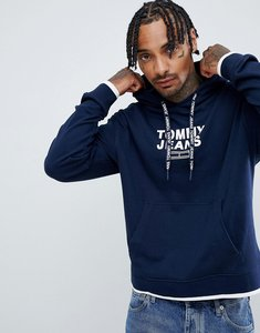 Read more about Tommy jeans small chest logo hoodie relaxed regular fit in navy - navy