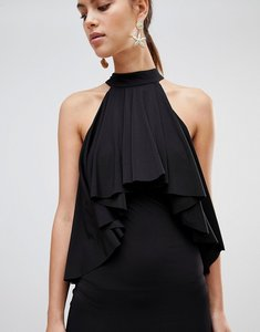 Read more about Forever unique ruffle halter neck dress - black
