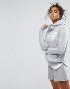 Read more about New balance pullover logo hoodie in grey - athletic grey