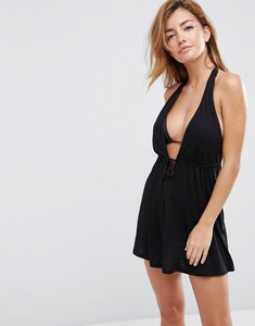 Read more about Asos design tie front plunge jersey mini beach dress - black