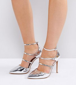 Read more about Asos palace wide fit pointed heels - silver