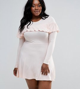 Read more about Club l plus skater dress in with ruffles - pink