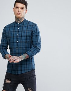 Read more about Asos design skinny twill check shirt with grandad collar - teal