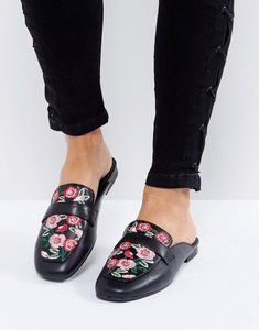Read more about New look floral embroidered loafer mule - black
