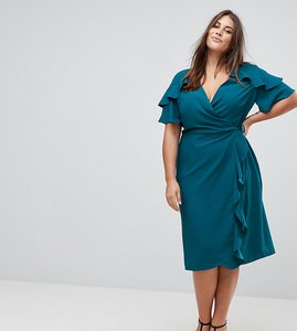 Read more about Asos curve midi wrap dress with ruffle sleeve - dark teal