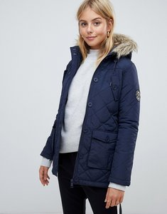 Read more about Brave soul padded parka with faux fur trim hood - navy