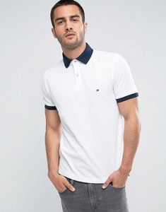 Read more about Tommy hilfiger contrast cuff polo logo collar reverse slim fit in white - white