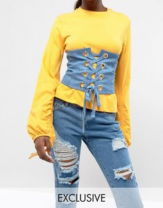 Read more about Seint lace up corset in denim - blue