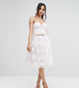 Read more about Chi chi london lace midi prom skirt with scalloped hem co ord - lilac white