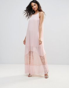 Read more about Bcbg sheer a-line midi dress with lace hem