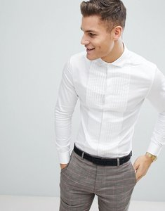 Read more about Asos wedding skinny fit sateen shirt with pleat detail in white with double cuff - white