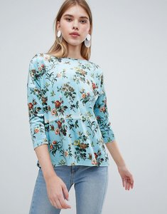 Read more about Oasis floral print velvet jumper - multi teal