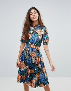 Read more about Closet floral roll sleeve skater dress - multi