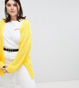 Read more about Asos design curve oversize cardigan in chunky rib with buttons - yellow