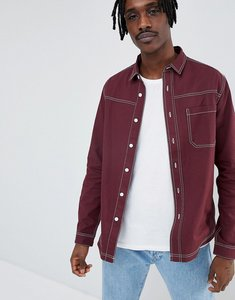 Read more about Asos design washed overshirt shirt with contrast stitching in burgundy - burgundy