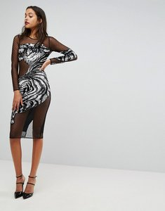 Read more about Asos embellished tiger mesh bodycon midi dress - black silver