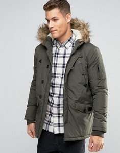 Read more about Brave soul parka jacket with faux fur trim hood - green