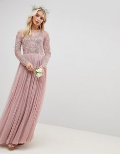 Read more about Asos design bridesmaid embroidered mesh long sleeve maxi dress - nude