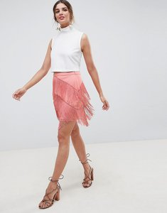 Read more about Asos design fringe mini skirt - rose pink